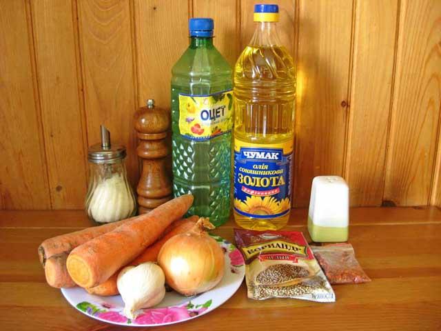 Морква по-корейськи. Інгредієнти.