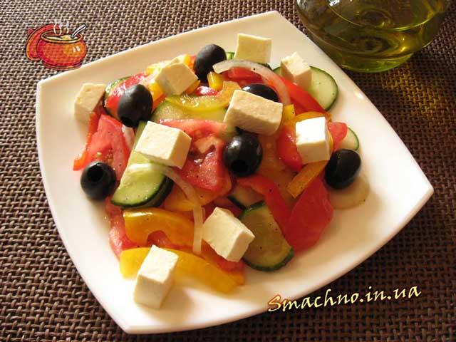 Грецький салат. Фотографія.
