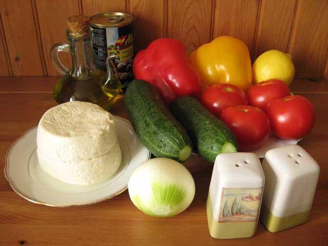 Грецький салат. Інгредієнти.