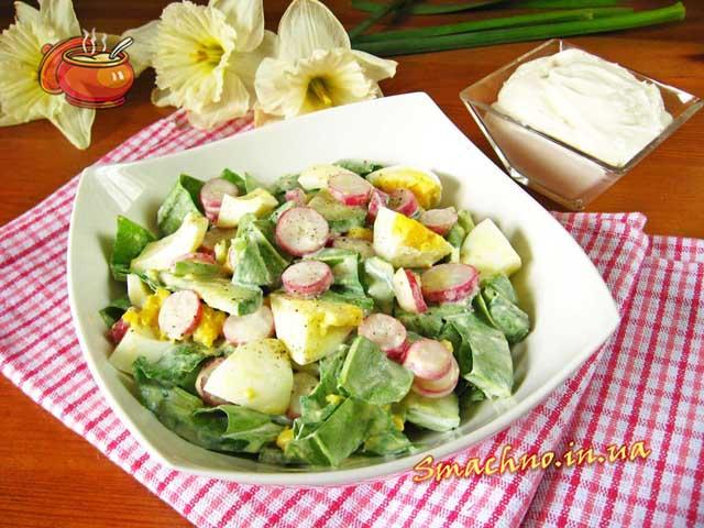 Салат из черемшы огурца и редиски