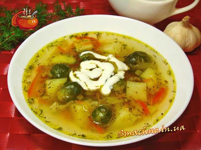 Чесночный суп с брюссельской капустой. Рецепт приготовления.