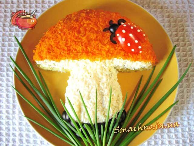 салат в форме гриба рецепт с фото данная